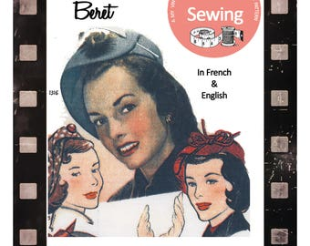 1950s Vintage French Sewing Pattern - Beret - Hat - Paper Pattern