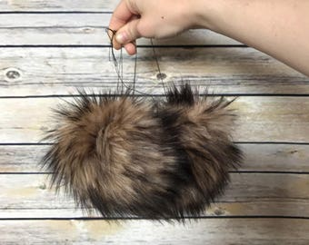 "Brown faux fur pom pom, 4-5 inch, bulk orders welcomed, ""Eurasian"" faux fur pompom, vegan, handmade"