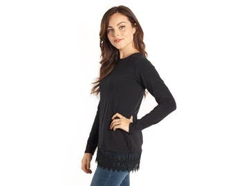 Black Long Sleeved Lace Shirt Extender