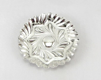 Antique Sterling Silver Pin Tray Dish | Victorian Repousse Silver Trinket Dish Ring Tray | Hallmarked Sterling Silver Decorative Dish