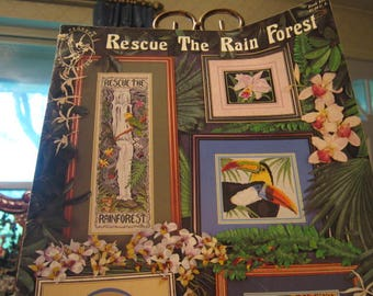 "1992 Cross Stitch Booklet ""Rescue The Rain Forest"""