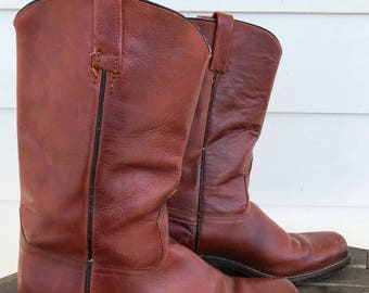 Vintage red/brown all leather engineer boots for men