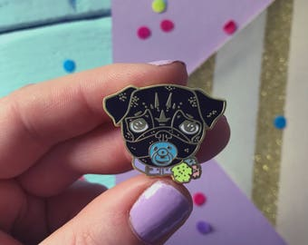 pug pin, black pug pin, black pug gift, black pug, baby pug enamel pin, pug enamel pin badge, pin lover gift, pug brooch, pug gift,