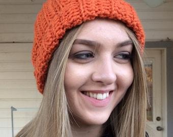 Pumpkin beanie hat, Orange Hat, Beanie, Crochet hat, Halloween Hat , thanksgiving hat, Fall Hat, photo prop - all sizes from to adult