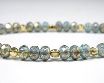 Aqua and Gold Small Bracelet - Czech Glass Beads - Petite Bracelet - Girls - Plus Size - Stacking Bracelet - Tiny Bead Bracelet