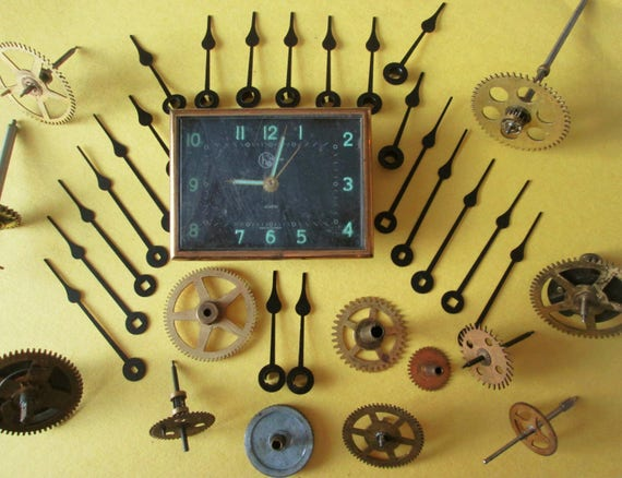 "Nice Vintage 3"" x 2 1/2"" German Helbros Alarm Clock and Antique Brass Clock Parts and Hands  for your Clock Projects - Steampunk Art"