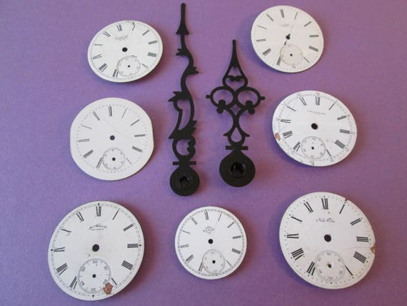 Lot 8- 7 Assorted Antique and Vintage Ceramic Pocket Watch Dials+1 Pair of Clock Hands for your Watch Projects - Jewelry Making - Steampunk