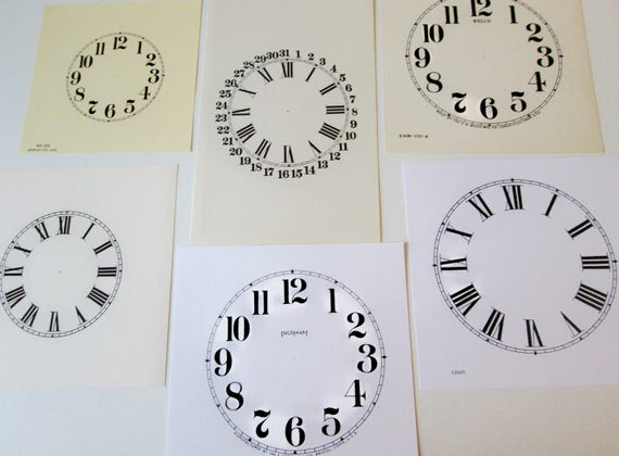 Lot 2.       6 Assorted Heavy Paper Reproduuction Clock Dials for your Antqiue/ Vintage / New  Clock Projects - Art Projects - Steampunk Art