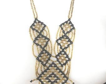 Beautiful hand beaded vintage statement piece necklace gold and black beads