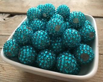 20mm Bright Aqua Rhinestone Chunky Bead, Blue Green Bubblegum Bead, Acrylic Bead, DIY Chunky Necklace, 10 Count