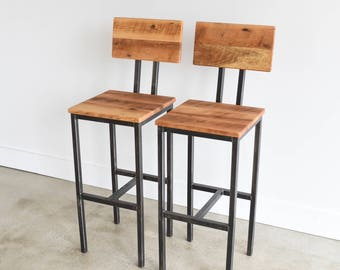 Reclaimed Wood Pine Bar Stools With Hand Welded Steel Base