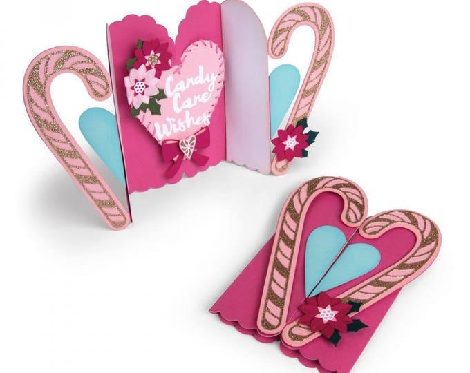 New! Sizzix Thinlits Die Set 13PK - Card, Candy Cane Fold-a-Long by Jen Long 662450