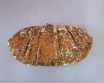 "1980s Unused Bronze Sequined Evening Clutch by ""Nitebags"""