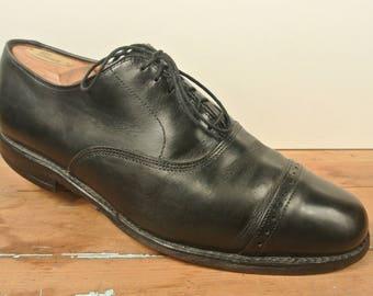 Allen Edmonds Byron Black Brogued Cap Toe Balmoral Men's Size: 9D