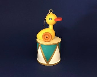 Wooden Ducky pull-toy Christmas ornament