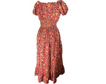 Vintage 70s Prairie Maxi Dress | Off Shoulder Dress | Shirred Waist | Red Floral Daisy Print