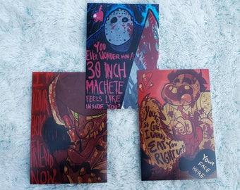PRINT SET: Leatherface, Jason Voorhees, Freddy Krueger (4x6) || horror art prints