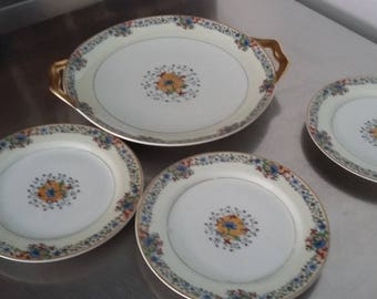 Vintage Limoges Haviland Cake Sandwich Plate and 3  Tea Side Plates