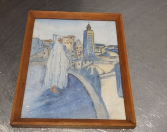 Vintage Original Watercolour. Middle East Minurets