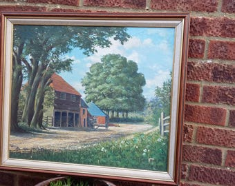 Vintage Oil Painting of a Barn Country Farm Scene Landscape