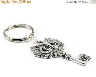 SALE Owl Key KeyChain Silver Metal Keyring