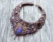 Bib necklace Statement Bead embroidered necklace Unique necklace Beaded purple necklace Modern necklace Women Gemstone necklace Wearable art