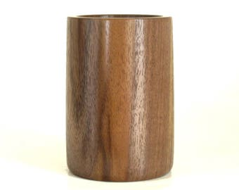 Wooden Pencil Cup Pen Holder Turned in Walnut