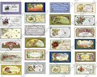 Vintage printable soap labels - set of 24 - digital jpg collage sheet, decoupage paper, French labels for scrapbooking