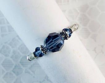 """Cynthia Lynn """"DAZZLE"""" Brilliant Denim Blue Swarovski Crystal Silver Stretch Ring"""