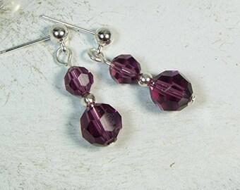 """Cynthia Lynn """"CELEBRATE"""" Swarovski Crystal February Silver Birthstone Earrings"""