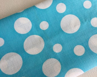 60's Vintage Turquoise POLKA dot cotton fabric 2.4m