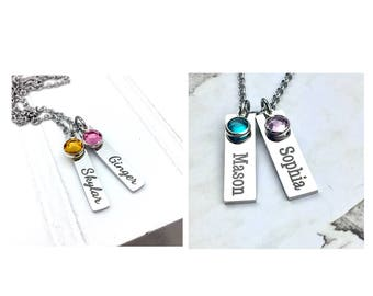Engraved Birthstone Name Bars -  necklace, customized, personalized gifts, birthstone necklace, locker combination, lunch number
