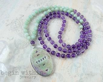 TRUST Amethyst Mala Necklace | 108 Mala Beads | Mala Yoga Necklace