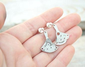 Steampunk Dangling Earrings / Steam punk Jewelry / Industrial dangle silver earrings industrial Jewllery / Gifts for Teen Girls