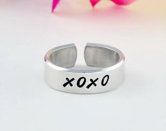 XOXO - Hand Stamped Aluminum Cuff Ring, Hugs and Kisses Ring