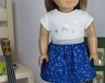 American Girl or 18 Inch Doll SKIRT in Royal Blue Silver Stars with Star TEE Shirt Top Hairbow and SHOES or Boots Option