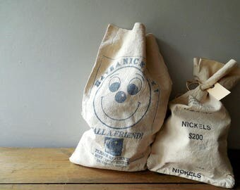 Vintage Bell Telephone Canvas Coin Bag ~ Call A Friend Smiley Face Cash Bag  /0506