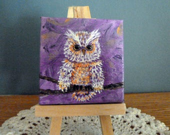 Colorful Owl painting, Mini Canvas with Easel, Small Painting, Desk Art, Unique Gift, Cute Owl, Original Owl Art,