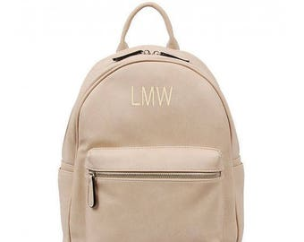 Monogram Vegan Leather Backpack | Personalized Backpack | Back to School | Embroidered Monogram Back Pack | Gifts for Her