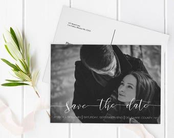 Calligraphy Photo Save the Date Postcard, Printable Photo Save Date Postcard, Custom Save the Dates Photo Card, Editable PDF, DIY You Print