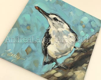 "Nuthatch painting, Original 6x6"" oil painting on panel. Nuthatch painting, bird painting, bird art"