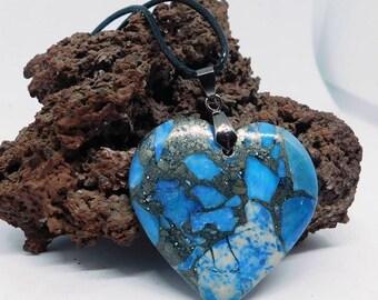 Blue Sea Sediment Pyrite pendant Heart
