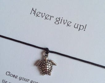 Friendship Bracelet Wish String Bracelet Gift Turtle Charm Never Give Up