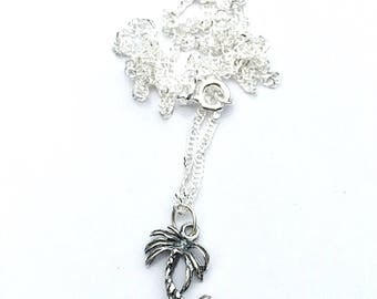 Island jewelry, palm tree jewelry, sterling silver palm tree necklace, ocean bridesmaid necklace, paradise necklace,silver