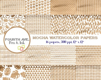 Brown Digital Paper, Mocha, Watercolor, Brown, Brown and White, Patterns, Watercolor Digital Paper Pack, Scrapbook Paper