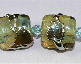 Handmade Lampwork Glass beads Earring Pair in YELLOW GOLD Silver Glass SRA