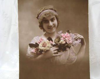 Vintage Carte Postal Photo Postcard 1900-20's GLAMOUR Ladies Model Flowers FRENCH