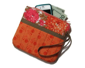 Fabric Zippered Clutch, Quilted Wristlet, Cell Phone Purse, Orange and Pink Floral , Quiltsy Handmade