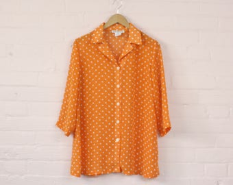 90s Sheer Orange Polka Dot Blouse · 90s See Through Blouse · 90s Polka Dot Shirt · 1990s Sheer Blouse · Sheer Orange 1990s Shirt · S
