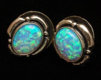 Sterling Silver Opal Stud Earrings Vintage